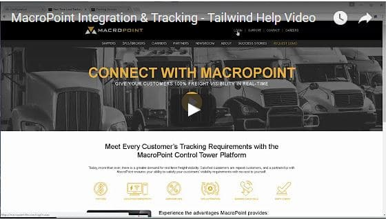Macropoint Integration and Tracking - Tailwind TMS help video