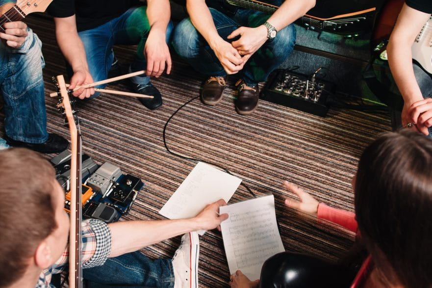 Band musicians rehearsing