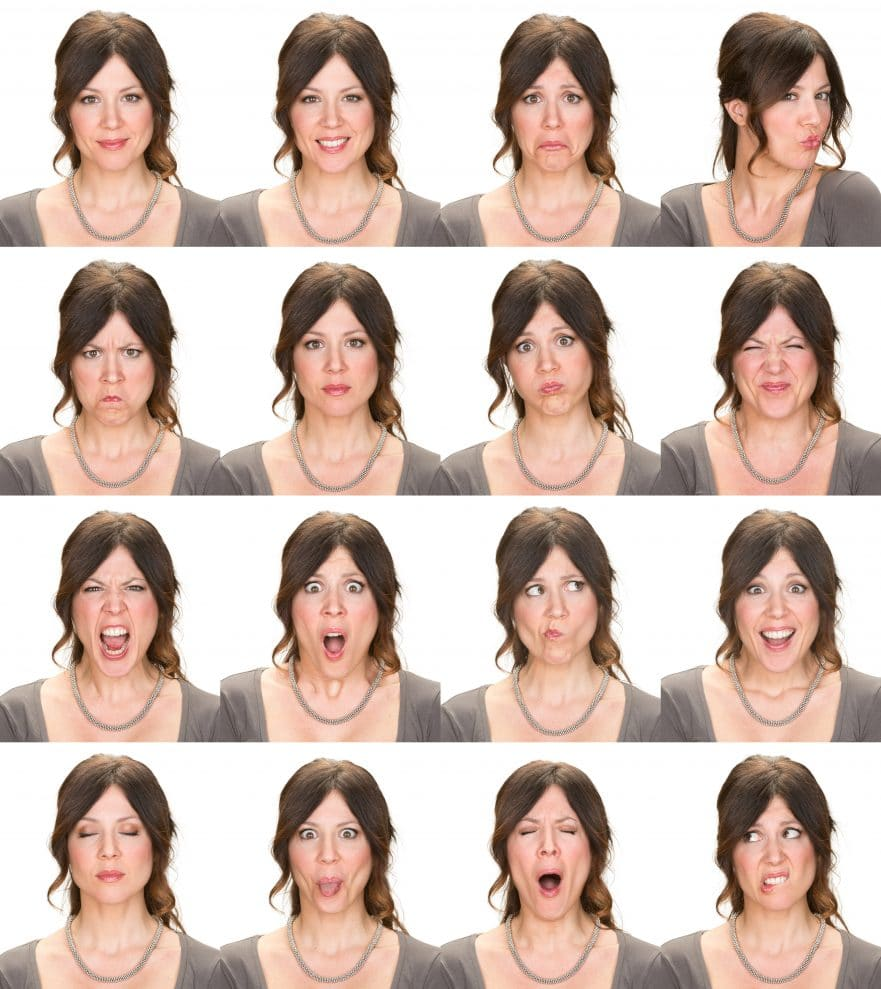 A woman making funny faces