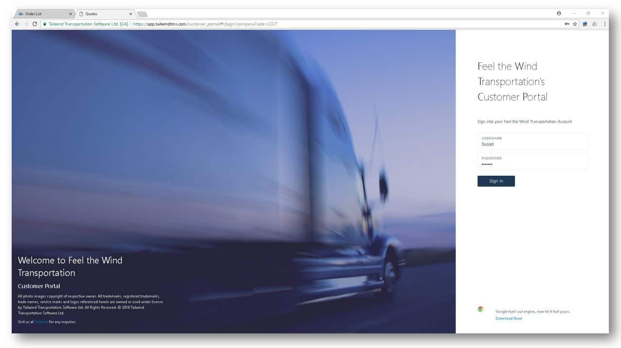 Tailwind Customer Portal Login Screen