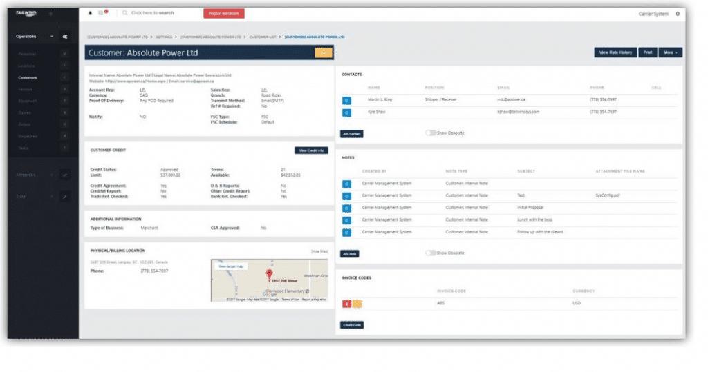 Tailwind TMS Customer Record Screenshot