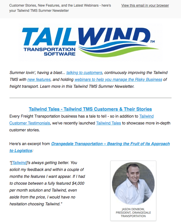 Tailwind Summer Newsletter 2018