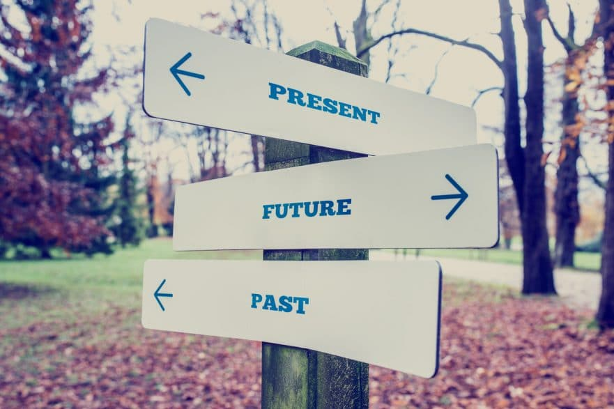 Present, Future and Past signs on a post