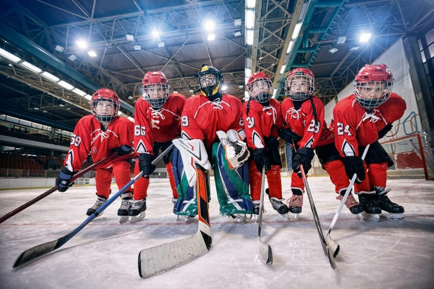 Youth hockey team - children play hockey
