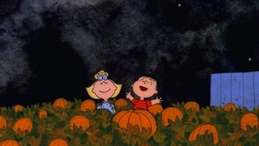 Linus Van Pelt and Sally Brown playing in a pumpkin patch