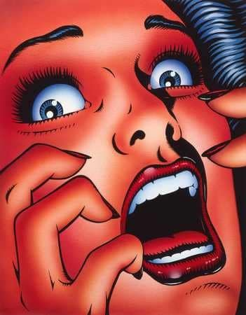 Cartoon image of a scared women