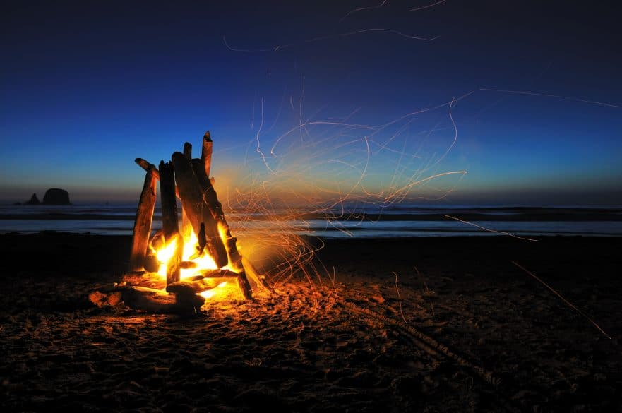 Campire on a beach