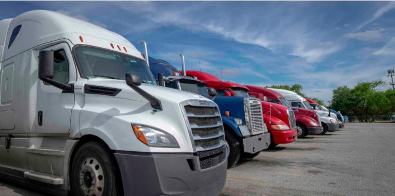 Semi Trucks lined up