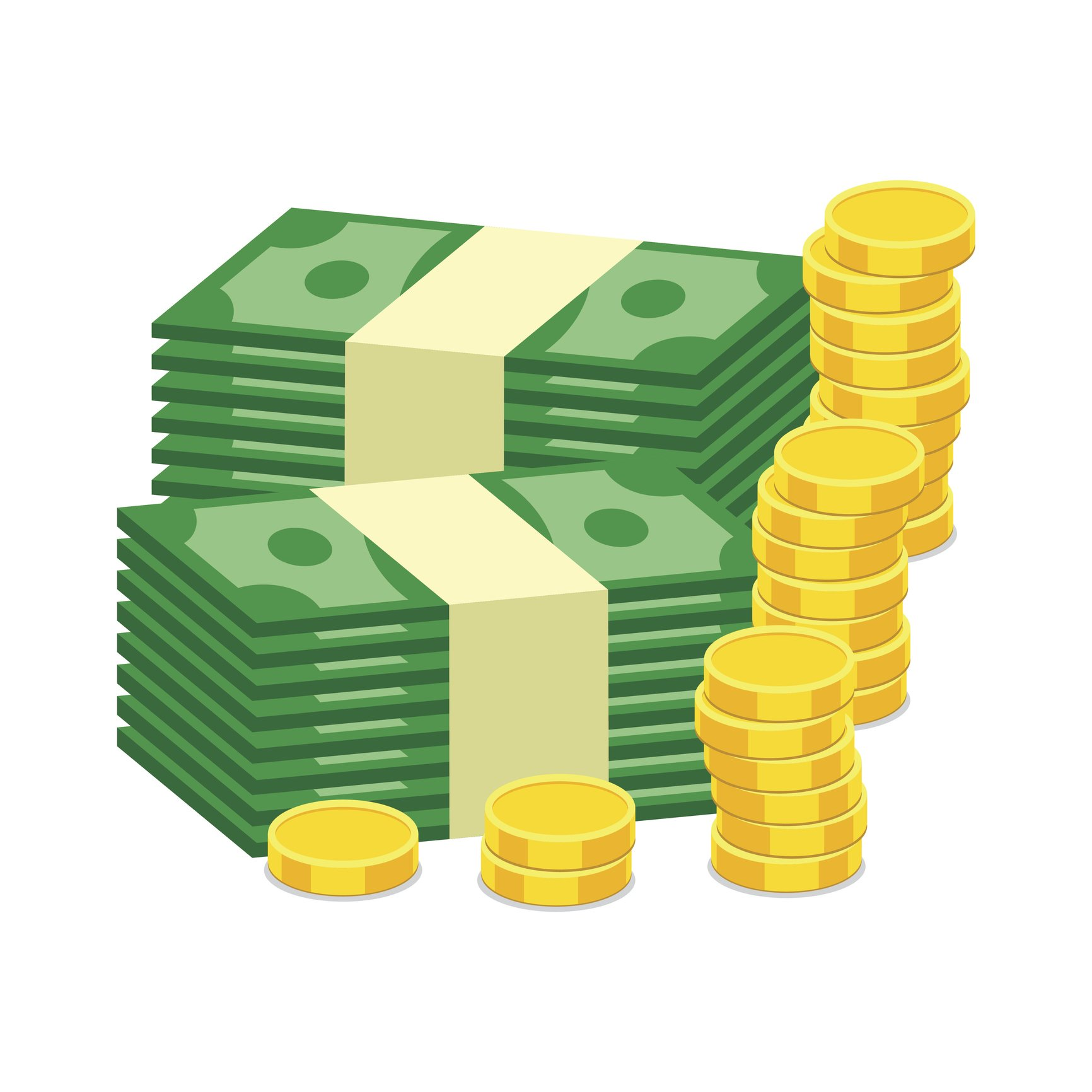 Stacks of gold coins and dollar cash. Vector illustration in flat design on white background